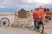 California historical landmark plaque and old fire truck at Stovepipe Wells, Death Valley National Park, California