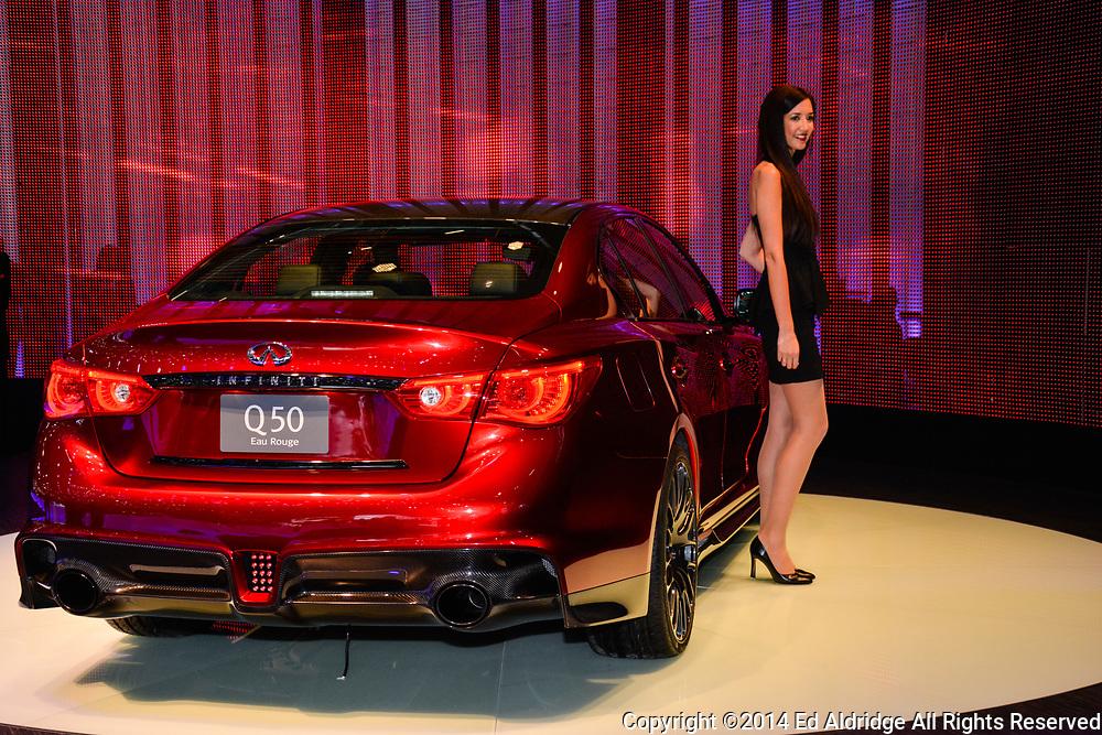 GENEVA, SWITZERLAND - MARCH 4, 2014: Infinity Q50 on display during the Geneva Motor Show.