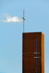 05 June 2014:   Downtown Bloomington. Steeple of Wesley United Methodist Church corner of McLean and Washington