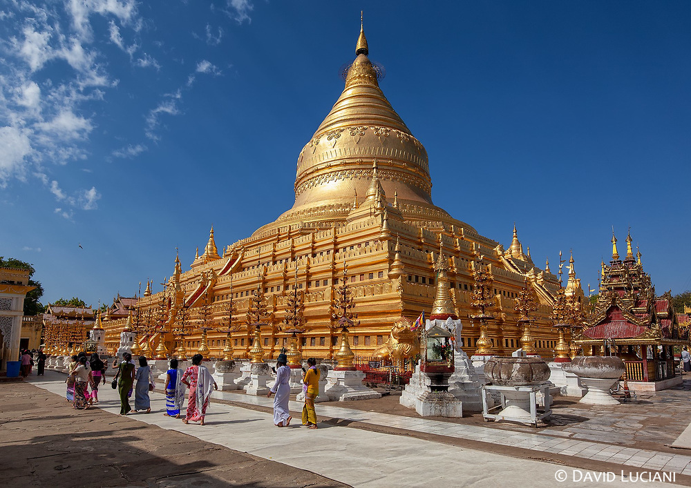The Shwezigon Pagoda is the most famous  Buddhist temple in Nyaung-U, a town near Bagan.
