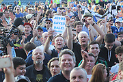 Jesus Saves Dale fans celebrate on the pitch during the EFL Sky Bet League 1 match between Rochdale and Charlton Athletic at Spotland, Rochdale, England on 5 May 2018. Picture by Daniel Youngs.