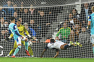 West Bromwich Albion defender Darnell Furlong (2) tries a diving header during the EFL Sky Bet Championship match between West Bromwich Albion and Derby County at The Hawthorns, West Bromwich, England on 14 September 2021.
