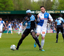 Bristol Rovers' Chris Beardsley jostles for the ball with Wycombe Wanderers' Aaron Pierre - Photo mandatory by-line: Dougie Allward/JMP - Mobile: 07966 386802 26/04/2014 - SPORT - FOOTBALL - High Wycombe - Adams Park - Wycombe Wanderers v Bristol Rovers - Sky Bet League Two