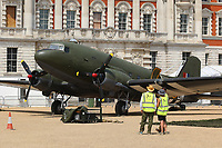 Douglas DC3 Dakota, RAF100 Aircraft Tour London, Horse Guards, Whitehall, Westminster, London, UK, 01 July 2018, Photo by Richard Goldschmidt, To celebrate the Centenary of the Royal Air force The RAF100 Aircraft Tour is a public display of iconic RAF aircraft in city locations around the country.