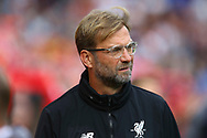 Liverpool Manager Jurgen Klopp looks on . Premier League match, Liverpool v Burnley at the Anfield stadium in Liverpool, Merseyside on Saturday 16th September 2017.<br /> pic by Chris Stading, Andrew Orchard sports photography.