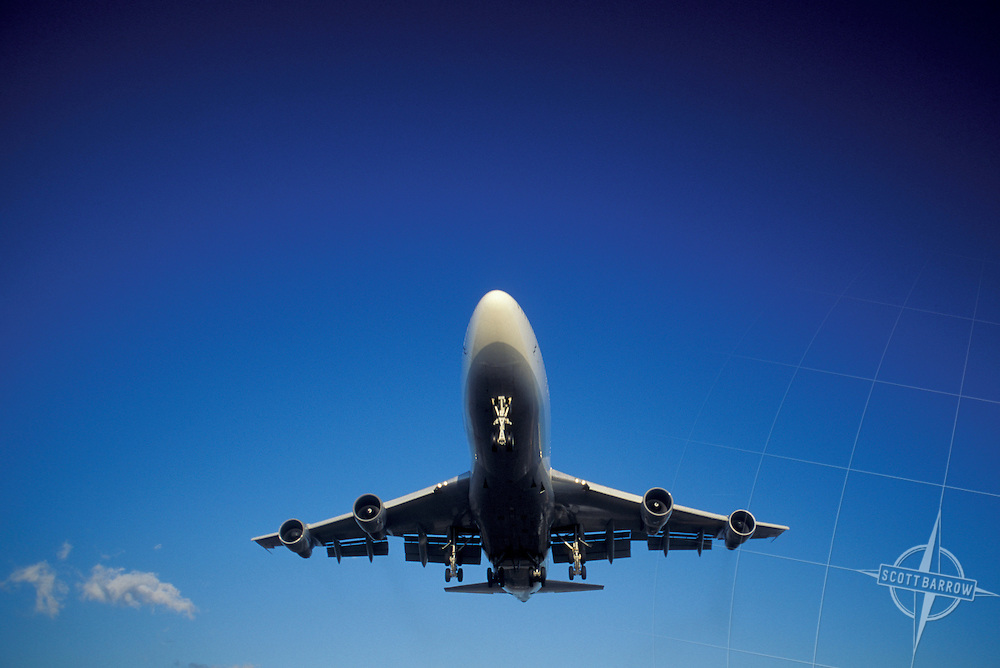 747 commercial airliner taking off or landing.