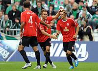 Fotball<br /> Tyskland<br /> 18.09.2010<br /> Foto: Witters/Digitalsport<br /> NORWAY ONLY<br /> <br /> Jubel 0:1Tor  v.l. Nikolce Noveski, Eugen Polanski, Torschuetze Marcel Risse (Mainz) <br /> Bundesliga, SV Werder Bremen - FSV Mainz 05
