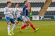 Scotland's Andrew Winter (Hamilton Academical) comes close to scoring during the U17 European Championships match between Scotland and Russia at Simple Digital Arena, Paisley, Scotland on 23 March 2019.