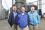 SHOT 10/29/18 9:55:20 AM - Sunrise Cooperative is a leading agricultural and energy cooperative based in Fremont, Ohio with members spanning from the Ohio River to Lake Erie. Sunrise is 100-percent farmer-owned and was formed through the merger of Trupointe Cooperative and Sunrise Cooperative on September 1, 2016. Photographed at the Clyde, Ohio grain elevator was George D. Secor President / CEO and John Lowry<br /> Chairman of the Board of Directors with  CoBank RM Gary Weidenborner. (Photo by Marc Piscotty © 2018)