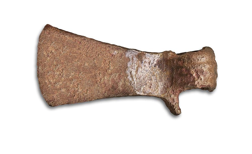 Hittite shaft hole axe from the Hittite capital Hattusa, Hittite New Kingdom 1450-1200 BC, Bogazkale archaeological Museum, Turkey. White background