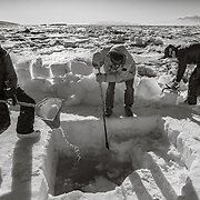 Henry Kaiser, Mike Koonce and Paul Cziko clearing a dive hole in preparation for a dive