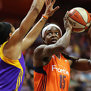 UNCASVILLE, CONNECTICUT- MAY 26: Aneika Henry-Morello #15 of the Connecticut Sun is defended by Candace Parker #3 of the Los Angeles Sparks during the Los Angeles Sparks Vs Connecticut Sun, WNBA regular season game at Mohegan Sun Arena on May 26, 2016 in Uncasville, Connecticut. (Photo by Tim Clayton/Corbis via Getty Images)