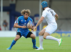 Mirco Bergamasco of Italy comes up against Richard De Carpenter of England - Photo mandatory by-line: Dougie Allward/JMP - Mobile: 07966 386802 - 11/07/2015 - SPORT - Rugby - Exeter - Sandy Park - European Grand Prix 7s