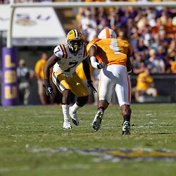 Oct 2, 2010; Baton Rouge, LA, USA; LSU Tigers cornerback Patrick Peterson (7) covers Tennessee Volunteers wide receiver Gerald Jones (4) during the first half at Tiger Stadium.  Mandatory Credit: Derick E. Hingle