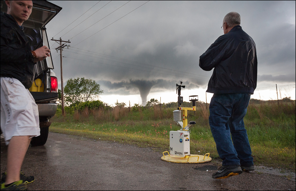 Tim Marshall and the Scout 3 team documenting the location of where they dropped Pod M in Oklahoma.