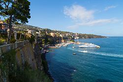 Sorrento, Italy, September 20 2017. A ferry is moored in Marina Piccolo in Sorrento, Italy. © Paul Davey
