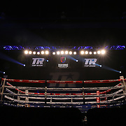 The ring is seen during theTop Rank boxing event at Osceola Heritage Park in Kissimmee, Florida on September 22, 2016.