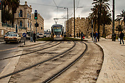 Israel, Jerusalem, Light Train rapid urban transport system