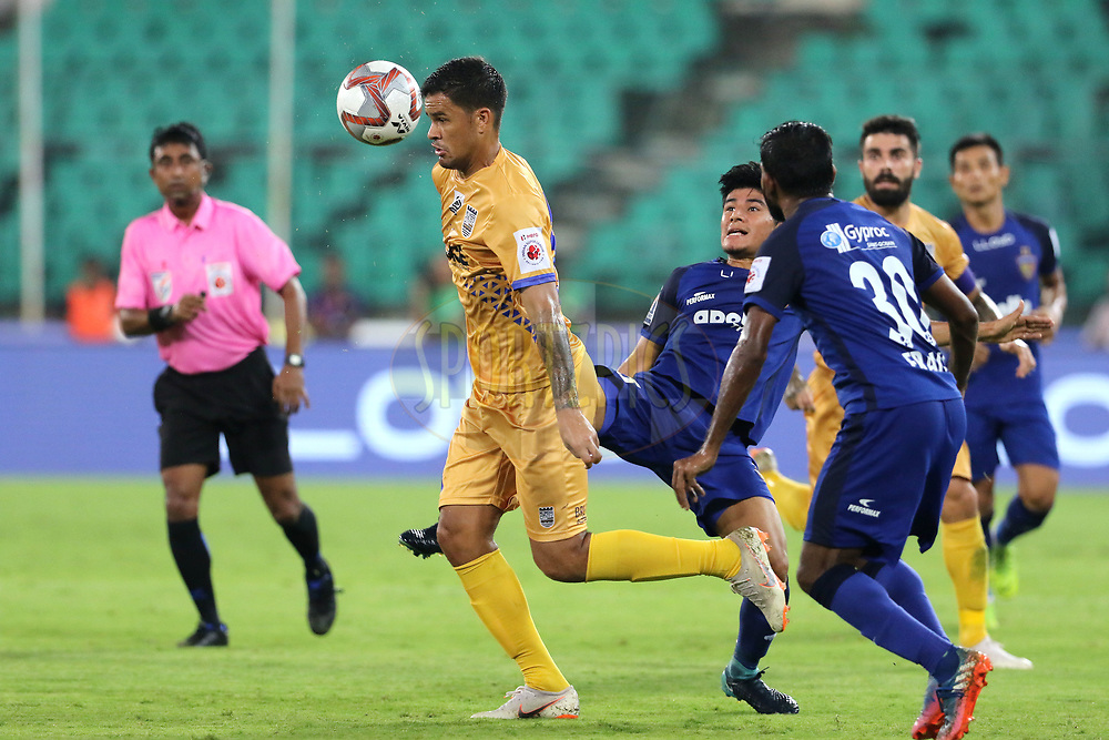 Rafael Bastos of Mumbai City FC and Anirudh Thapa of Chennaiyin FC in action during match 27 of the Hero Indian Super League 2018 ( ISL ) between Chennaiyin FC  and Mumbai City FC  held at the Jawaharlal Nehru Stadium, Chennai, India on the 3rd November 2018<br /> <br /> Photo by: Vipin Pawar /SPORTZPICS for ISL