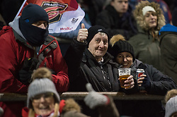 Fans of all ages wait for the start of the game.<br /> <br /> Photographer Simon Latham/Replay Images<br /> <br /> Guinness PRO14 - Dragons v Edinburgh - Friday 23rd February 2018 - Eugene Cross Park - Ebbw Vale<br /> <br /> World Copyright © Replay Images . All rights reserved. info@replayimages.co.uk - http://replayimages.co.uk