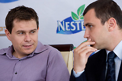 Jure Jeraj and Igor Dolinsek, general secretary of Slovenian volleyball federation at press conference of Nestea BeachMaster tournament 2009 and Slovenian Beach Volleyball Tour,  on July 9, 2009, in Tivoli, Ljubljana, Slovenia. (Photo by Vid Ponikvar / Sportida)