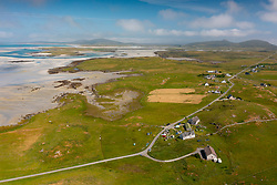 Aerial view from drone of Grenitote on north Uist in the Outer Hebrides, Scotland, UK