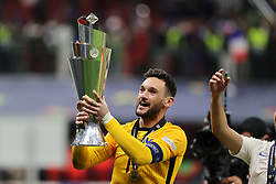 Hugo Lloris of France celebrates the victory at the end of the match during the UEFA Nations League Finals 2021 final football match between Spain and France at Giuseppe Meazza Stadium, Milan, Italy on October 10, 2021. Photo by Fabrizio Carabelli/IPA/ABACAPRESS.COM