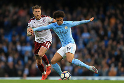 21st October 2017 - Premier League - Manchester City v Burnley - Leroy Sane of Man City battles with Jeff Hendrick of Burnley - Photo: Simon Stacpoole / Offside.