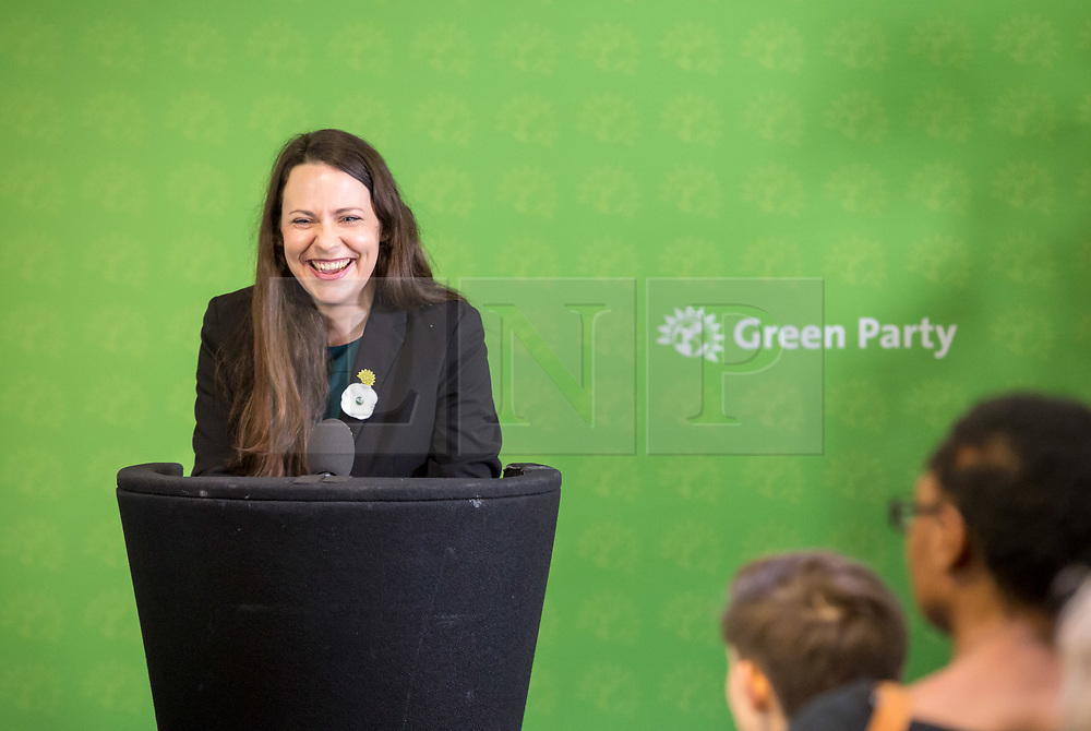 © Licensed to London News Pictures. 06/11/2019. Bristol, UK. General Election 2019; AMELIA WOMACK deputy leader of the Green Party. The Green Party's national campaign event at We The Curious in Bristol Harbourside on the day of the official start of the general election campaign 2019. The Green Party are targeting the seat of Bristol West where the Labour MP Thangam Debbonaire has a large majority but where the Green candidate came first in the elections for the European Parliament. Photo credit: Simon Chapman/LNP.