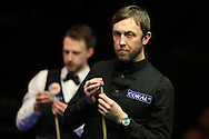 Andrew Higginson of England looks on during his 1st round match against Judd Trump of England .  Coral Welsh Open Snooker 2017, day 2 at the Motorpoint Arena in Cardiff, South Wales on Tuesday 14th February 2017.<br /> pic by Andrew Orchard, Andrew Orchard sports photography.