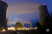 Night photograph of a power plant