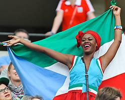 06-07-2011 VOETBAL: FIFA WOMENS WORLDCUP 2011 EQUATORIAL GUINEA - BRAZIL: FRANKFURT<br /> Fan of Guinea<br /> ***NETHERLANDS ONLY***<br /> ©2011-FRH- NPH/Roth
