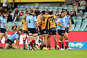 Brumbies celebrate the Andy Muirhead  try. NSW Waratahs v ACT Brumbies. 2021 Super Rugby AU Round 7 Match. Played at Sydney Cricket Ground on Friday 2 April 2021. Photo Clay Cross / photosport.nz