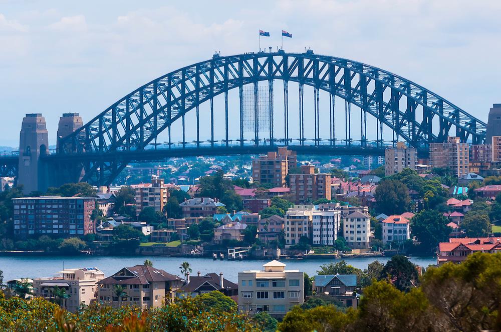 View of the Sydney Harbour Bridge from the Taronga Zoo, Sydney Harbor, Sydney, New South Wales, Australia