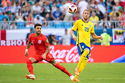 July 7, 2018 - Samara, Russia - 180707 Kyle Walker of England and Ola Toivonen of Sweden during the FIFA World Cup quarter final match between Sweden and England on July 7, 2018 in Samara..Photo: Petter Arvidson / BILDBYRÃ…N / kod PA / 92083 (Credit Image: © Petter Arvidson/Bildbyran via ZUMA Press)