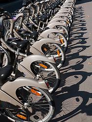 public  rental bicycles called Velib on Paris street in France