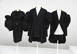 The Clothing at the Press Preview of Rei Kawakubo/Comme des Garcons: Art of the In-Between exhibit at The Costume Institute at the Metropolitan Museum of Art on May 1, 2017 in New York, New York, USA.  *** Please Use Credit from Credit Field ***