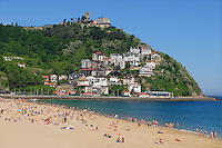 Playa de Ondarreta, beach, San Sebastian, Donostia, Spain, bathers, sun worshippers, May, 2015, 201505100989<br />