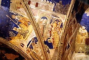France, Avignon, Provence, Palace of the Popes, Fresco on ceiling.