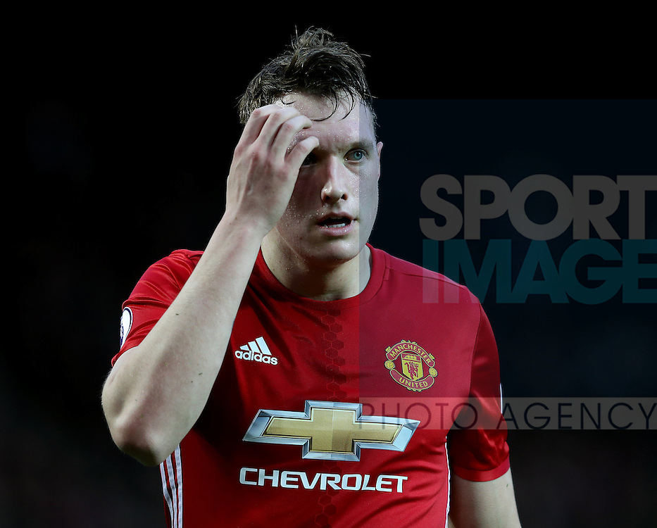 Phil Jones of Manchester United during the English Premier League match at Old Trafford Stadium, Manchester. Picture date: December 11th, 2016. Pic Simon Bellis/Sportimage