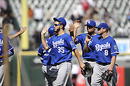 CHICAGO - JULY 06:  Eric Hosmer #35 of the Kansas City Royals celebrates with teammates after the game against the Chicago White Sox on July 6, 2011 at U.S. Cellular Field in Chicago, Illinois.  The Royals defeated the White Sox 4-1.  (Photo by Ron Vesely)  Subject: Eric Hosmer