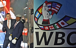 October 1, 2018 - Kiev, Ukraine - Former Boxing Champion LENNOX LEWIS (R) and former heavyweight boxing champion and current Mayor of Kiev VITALI KLITSCHKO (L) are arguing as they watching on the screen and remembering their fight that was in Los Angeles 21 June 2003, during the opening of the 56th World Boxing Convention in Kiev, Ukraine, on 1 October 2018. The WBC 56th congress in which take part boxing legends Evander Holyfield,Lennox Lewis, Eric Morales and about 700 participants from 160 countries runs in Kiev from from September 30 to October 5. (Credit Image: © Serg Glovny/ZUMA Wire)