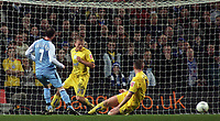 Photo: Paul Thomas.<br /> Manchester City v Sheffield Wednesday. The FA Cup. 16/01/2007.<br /> <br /> Man City's Stephen Ireland slides home the first goal past Graham Coughlin (R) and Frank Simek
