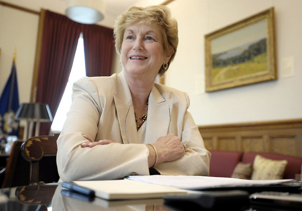 Connecticut Governor M. Jodi Rell pauses during an interview in her office at the Capitol in Hartford, Conn.