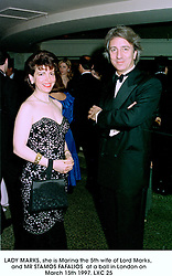LADY MARKS, she is Marina the 5th wife of Lord Marks, and MR STAMOS FAFALIOS  at a ball in London on March 15th 1997.LXC 25