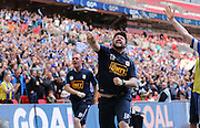 Glossop's Lee Donafee celebrates during the FA Vase Final between Glossop North End and North Shields at Wembley Stadium, London, England on 9 May 2015. Photo by Phil Duncan.
