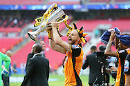 David Meyler of Hull City lifts the Sky Bet Championship Playoff Trophy. Skybet football league Championship play off final match, Hull city v Sheffield Wednesday at Wembley Stadium in London on Saturday 28th May 2016.<br /> pic by John Patrick Fletcher, Andrew Orchard sports photography.
