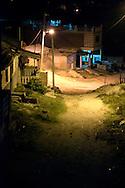 Lane at night in Gibara, Holguin, Cuba.