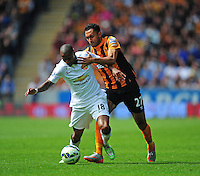 Manchester United's Ashley Young is fouled by Hull City's Ahmed Elmohamady<br /> <br /> Photographer Chris Vaughan/CameraSport<br /> <br /> Football - Barclays Premiership - Hull City v Manchester United - Sunday 24th May 2015 - Kingston Communications Stadium - Hull<br /> <br /> © CameraSport - 43 Linden Ave. Countesthorpe. Leicester. England. LE8 5PG - Tel: +44 (0) 116 277 4147 - admin@camerasport.com - www.camerasport.com