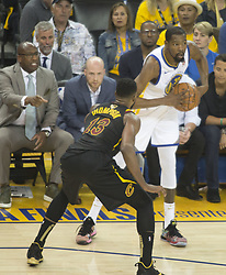 May 31, 2018 - Oakland, California, U.S - Kevin Durant #35 of the Cleveland  Cavaliers looks to put  the ball into play during  their NBA Championship Game 1  with the Golden State Warriors  at Oracle Arena in Oakland,  California on Thursday,  May 31, 2018. ARMANDO  ARORIZO/PI (Credit Image: © Prensa Internacional via ZUMA Wire)
